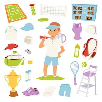 Ilustração de jogador de tênis e símbolos de jogo