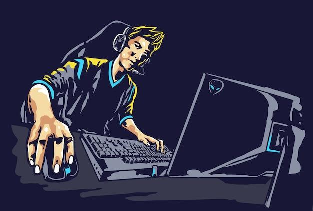 Ilustração de jogador profissional e-sport gamer