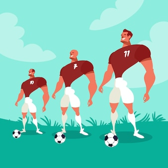 Ilustração de jogadores de futebol dos desenhos animados