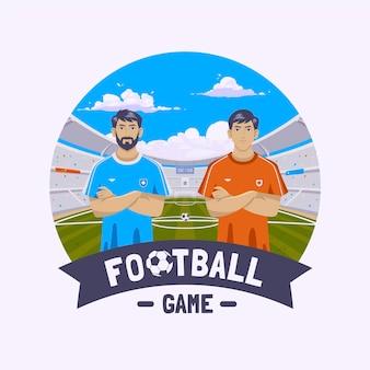 Ilustração de jogadores de futebol plano
