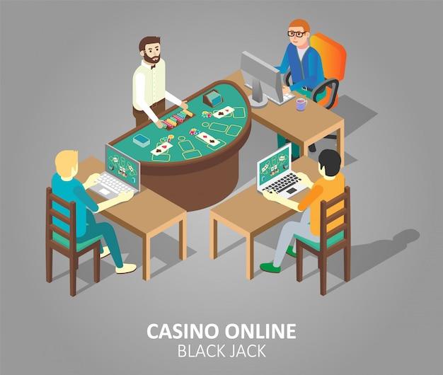 Ilustração de jogo de cassino online blackjack