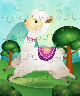 Ilustração de jogo de quebra-cabeça para crianças com alpaca fofa