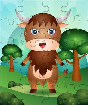 Ilustração de jogo de quebra-cabeça para crianças com búfalo fofo