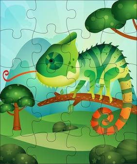 Ilustração de jogo de quebra-cabeça para crianças com camaleão fofo