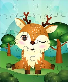 Ilustração de jogo de quebra-cabeça para crianças com cervos fofos