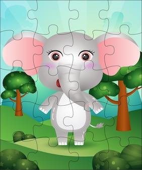 Ilustração de jogo de quebra-cabeça para crianças com elefante fofo