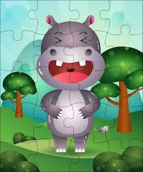 Ilustração de jogo de quebra-cabeça para crianças com hipopótamo fofo