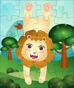Ilustração de jogo de quebra-cabeça para crianças com leão fofo