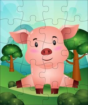 Ilustração de jogo de quebra-cabeça para crianças com porco fofo