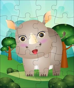 Ilustração de jogo de quebra-cabeça para crianças com rinoceronte fofo