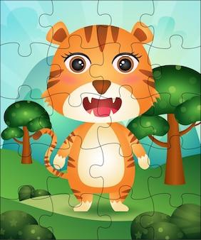 Ilustração de jogo de quebra-cabeça para crianças com tigre fofo