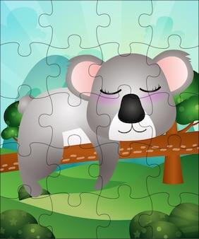 Ilustração de jogo de quebra-cabeça para crianças com um coala fofo