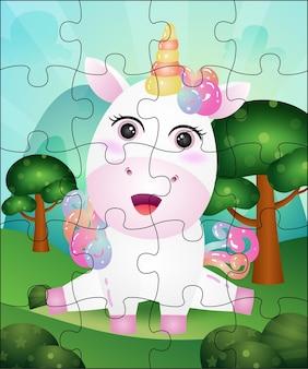 Ilustração de jogo de quebra-cabeça para crianças com unicórnio fofo