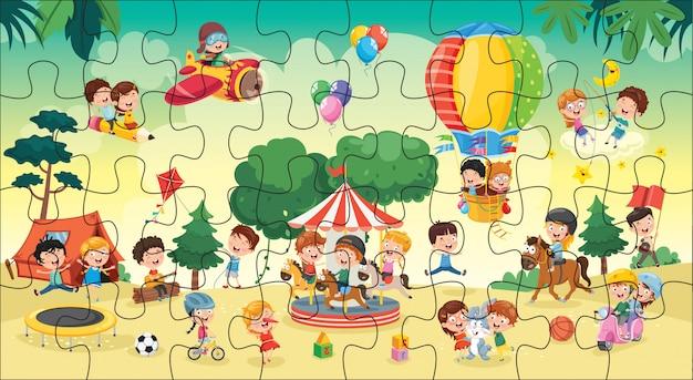 Ilustração de jogo de quebra-cabeça para crianças