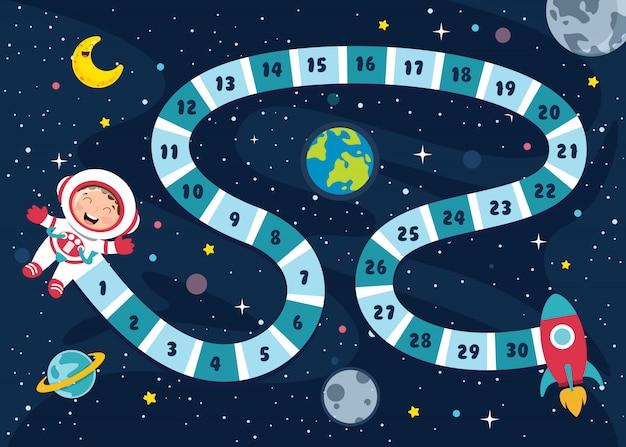 Ilustração de jogo de tabuleiro de números para educação de crianças
