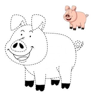 Ilustração de jogo educativo e porco para colorir