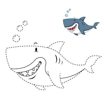 Ilustração de jogo educativo e tubarão colorir