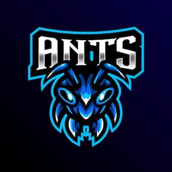 Ilustração de jogo esport mascote formiga logotipo