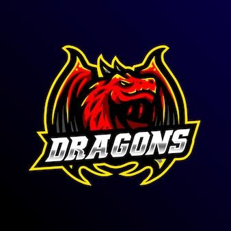 Ilustração de jogo esport mascote logotipo dragão