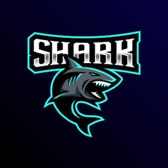 Ilustração de jogo esport mascote logotipo tubarão