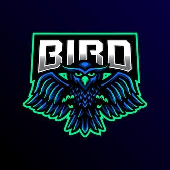 Ilustração de jogos coruja mascote logotipo