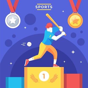 Ilustração de jogos esportivos planos