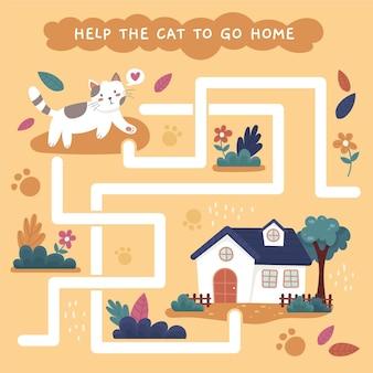 Ilustração de jogos labirinto para crianças