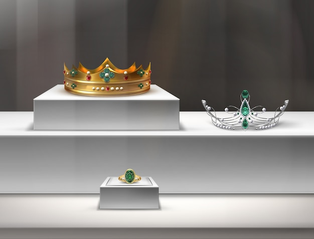 Ilustração de joias em uma vitrine com velha dourada, diadema e anel