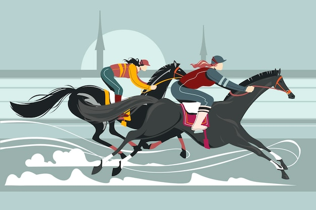 Ilustração de jóqueis na competição de cavalos de corrida