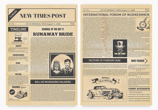 Ilustração de jornal vintage