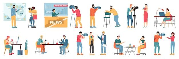 Ilustração de jornalistas de tv de mídia