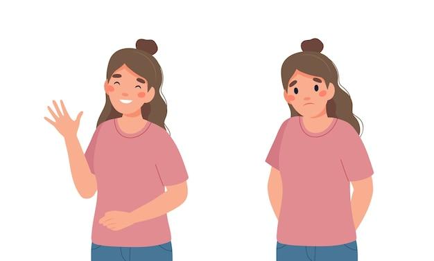 Ilustração de jovem feliz e triste