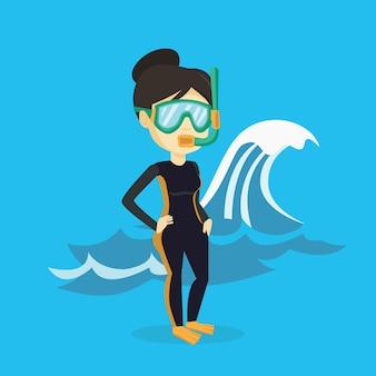 Ilustração de jovem mergulhador.