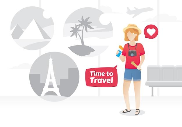 Ilustração de jovem no aeroporto