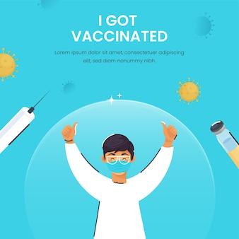 Ilustração de jovem rapaz usar máscara protetora, mostrando o polegar para cima para obter vacinação.
