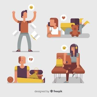 Ilustração, de, jovens, com, diferente, emoções