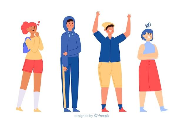 Ilustração de jovens com diferentes emoções