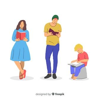 Ilustração, de, jovens, leitura, junto