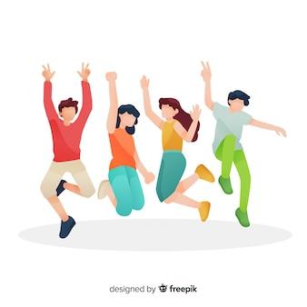 Ilustração de jovens pulando juntos