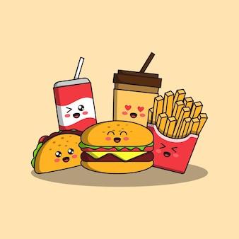 Ilustração de junk food de desenho bonito