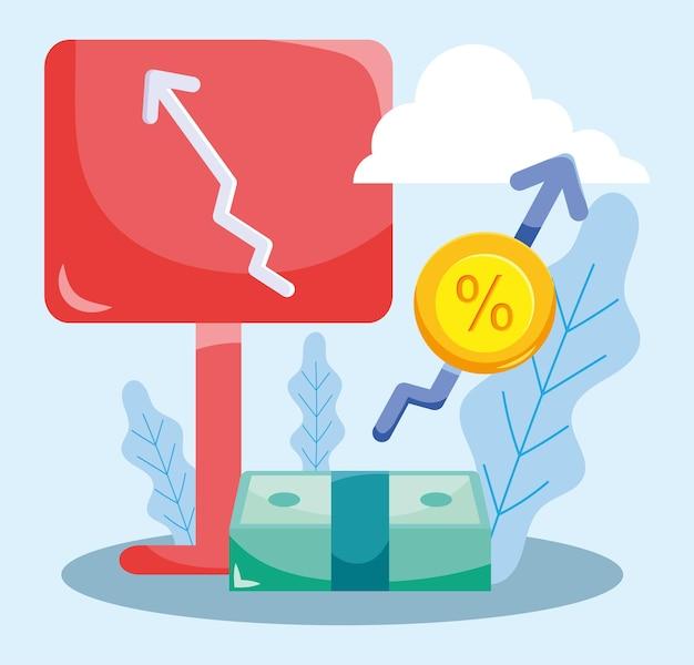 Ilustração de juros de dinheiro