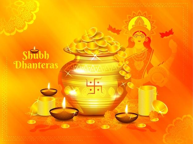 Ilustração de kalash dourado de moedas de ouro com a deusa laxami e diya na celebração do feliz festival de dhanteras
