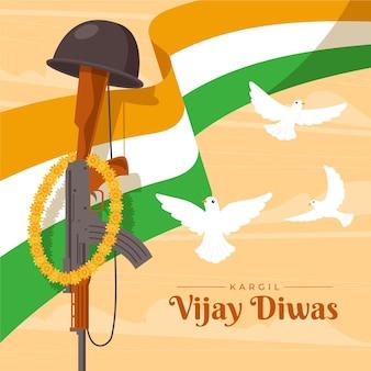 Ilustração de kargil vijay diwas com bandeira indiana