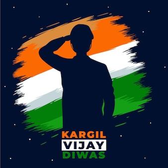 Ilustração de kargil vijay diwas desenhada à mão com bandeira indiana