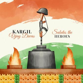 Ilustração de kargil vijay diwas pintada à mão em aquarela