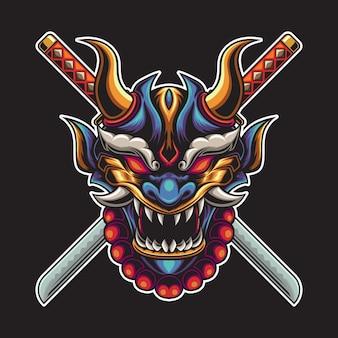 Ilustração de katana de máscara oni azul demoníaca