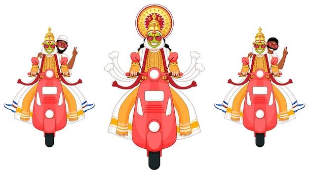 Ilustração de kathakali dancer, homem do sul da índia e homem muçulmano montando scooter na opção três.