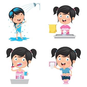 Ilustração de kid banhar, escovar os dentes, lavar as mãos após o toalete