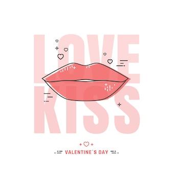 Ilustração de lábios de linha