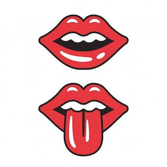 Ilustração de lábios vermelhos. boca feminina sexy com a língua de fora.